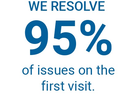 We resolve 95 percent of issues on the first visit